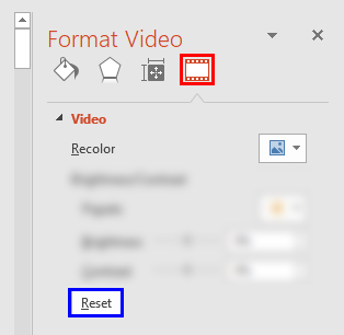 Video Recolor options within the Format Video Task Pane