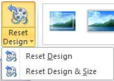 Reset Design drop-down gallery within Adjust group