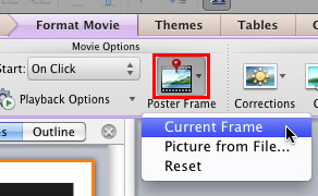 Current Frame option within the Poster Frame drop-down gallery