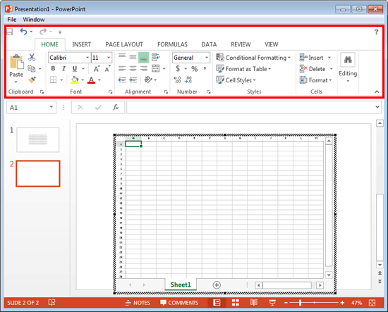 PowerPoint interface changed to Excel interface