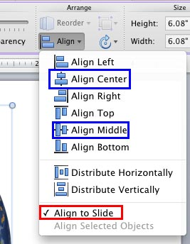 Align to Slide option selected in the Align or Distribute drop-down gallery