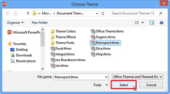 Choose Theme dialog box