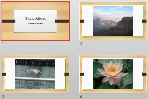 Photo Album presentation with a new Theme applied