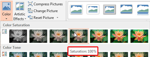 Tool Tip displaying saturation value in percentage