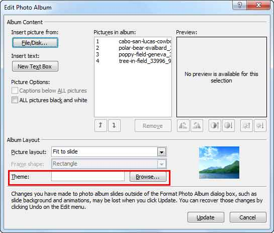 Edit Photo Album dialog box