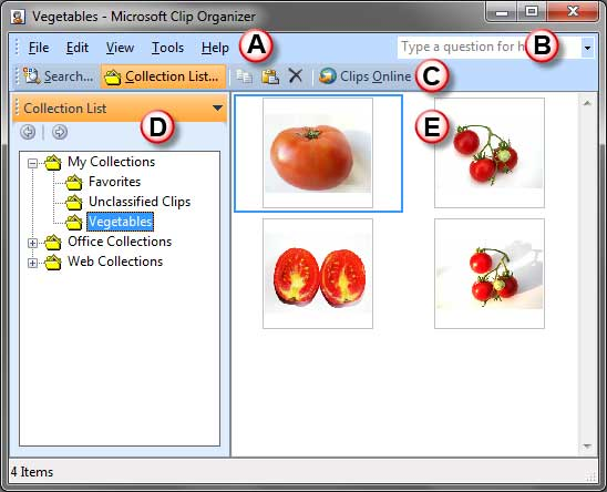 Microsoft Clip Organizer interface