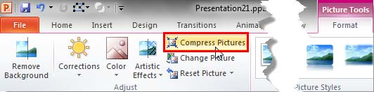 Compress Pictures button