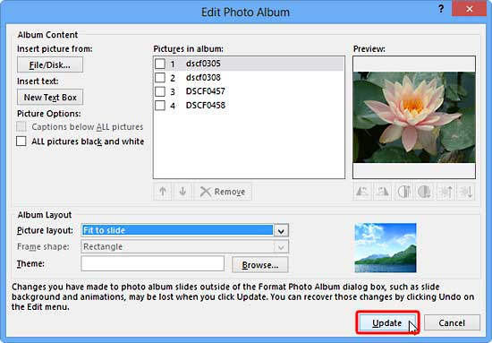 The Edit Photo Album dialog box