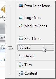 View menu options within Insert Picture dialog box