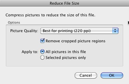 Reduce File Size dialog box