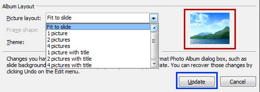 Picture layout drop-down list
