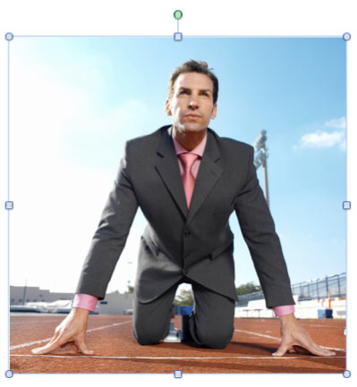 Picture showing a track, sky, and a businessman  (Picture is from Office.com)