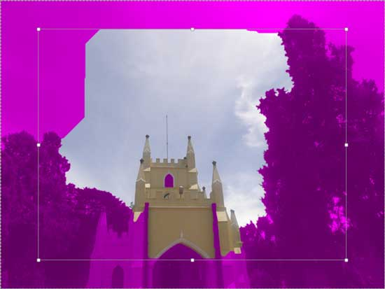 Magenta overlaid areas indicate the background selected for removal