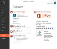 Account Tab in Backstage View in PowerPoint 2013 for Windows
