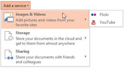 Add Services in PowerPoint 2013 for Windows