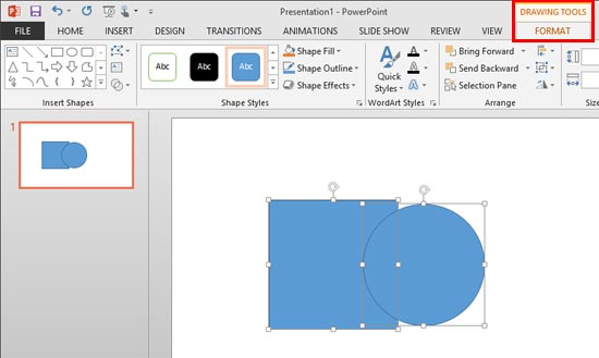 Drawing Tools Format tab
