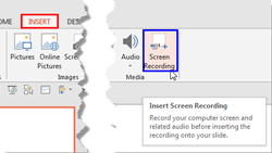 Screen Recording option within the Insert tab