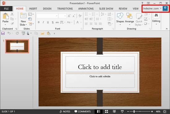 Signed in account within PowerPoint 2013 interface