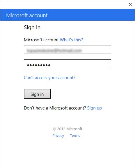Sign in to Microsoft account window