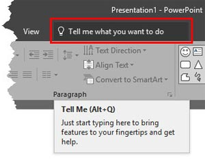 Tell Me in PowerPoint 2016 for Windows