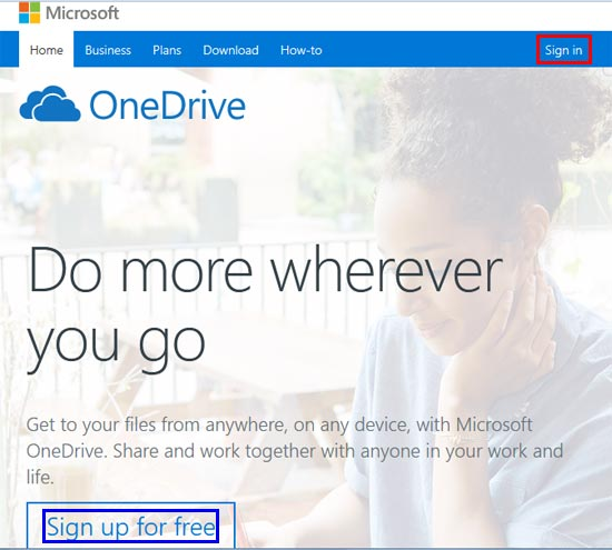 Sign in option within OneDrive page