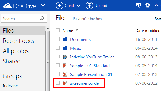 Uploaded file within the Files list