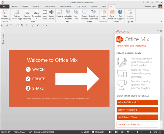 Office Mix sample presentation