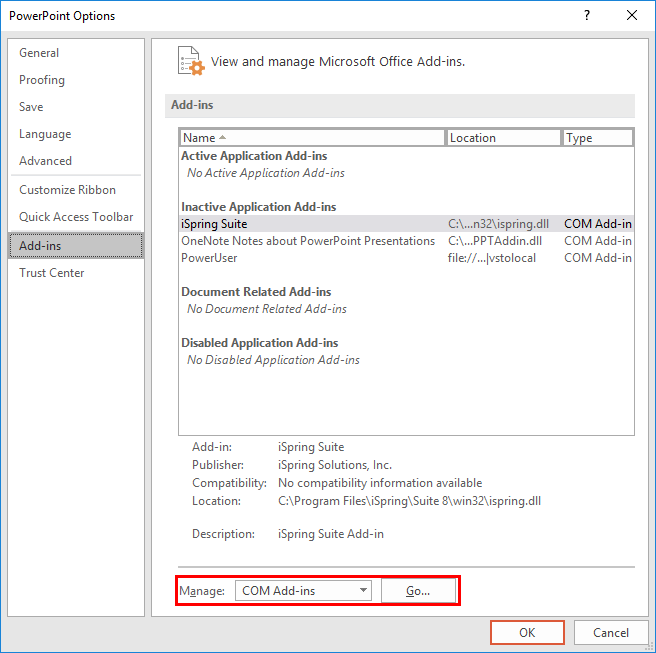 Add-ins tab selected within the PowerPoint Options dialog box