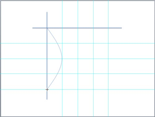 First arc of the hyperbola drawn