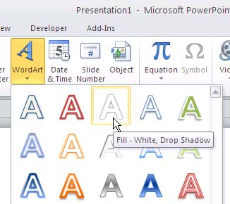 WordArt gallery in PowerPoint 2010