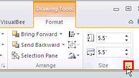 Click the arrow dialog launcher to summon the Format Shape dialog box