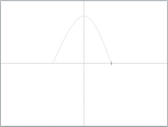 Place the cursor on the horizontal guide to create the end point of your parabola