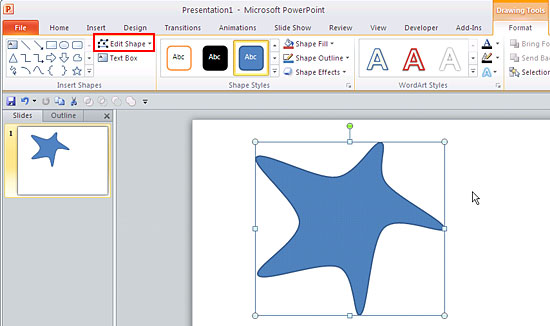edit points for shapes in powerpoint 2010 for windows