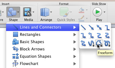 Drawing freeform lines in powerpoint 2011 for mac freeform shape selected toneelgroepblik