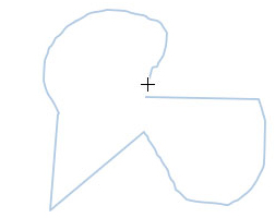 Shape being drawn with the Freeform shape tool