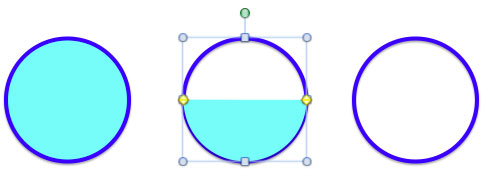 Paste semi-circle on the second circle