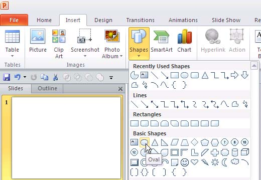 Shapes Gallery in PowerPoint 2010