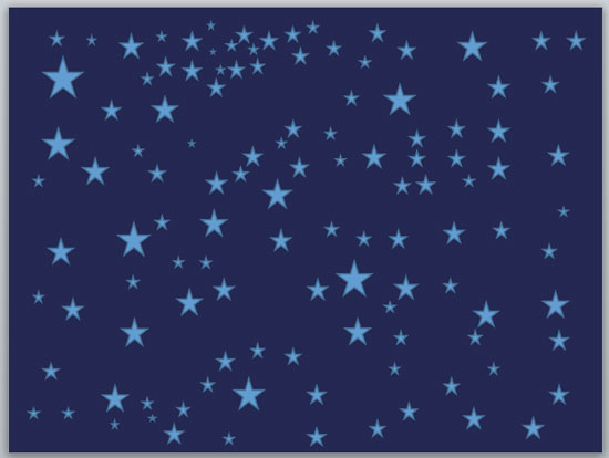 Multiple Star Shapes on a dark blue slide in PowerPoint