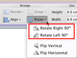 Rotate options within the Rotate and Flip drop-down gallery