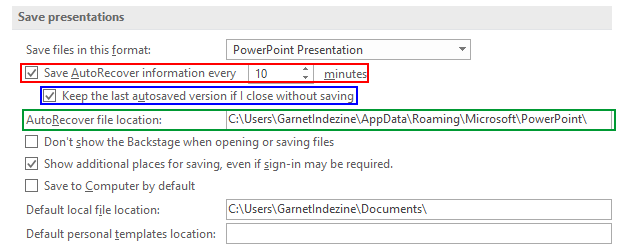 Autorecover and autosave options in powerpoint 2016 for windows autorecovery options within the powerpoint options dialog box toneelgroepblik Gallery