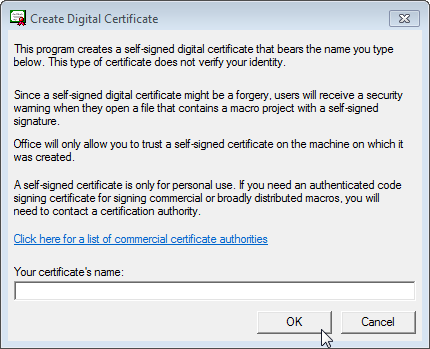 Create Digital Certificate dialog box