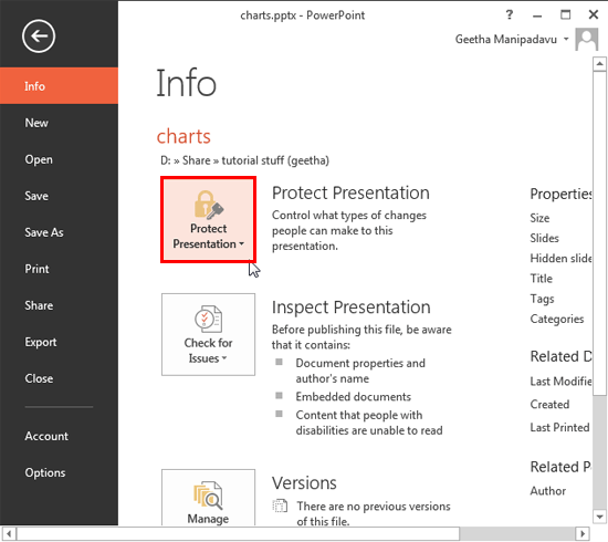 Protect Presentation option