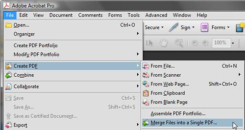 Merge files into a single PDF