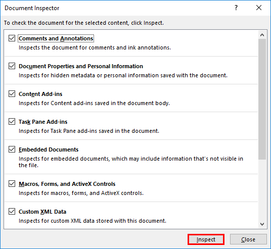 Document Inspector dialog box
