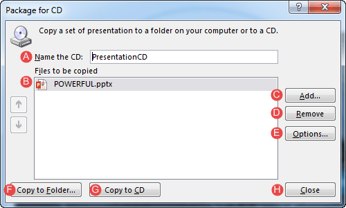 Package for CD dialog box