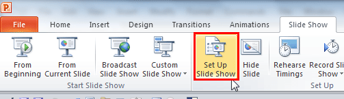 Set Up Slide Show button