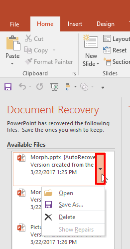 Document Recovery Task Pane