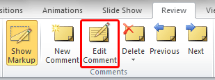 Edit Comment button