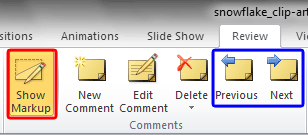 Show Markup button