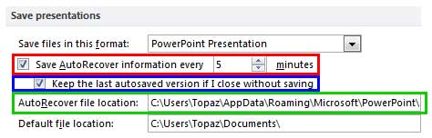 AutoRecovery options within the PowerPoint Options dialog box